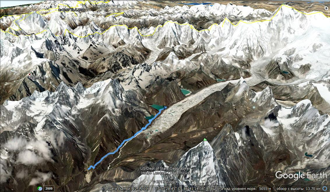 Трек Machhermo - Gokyo на Google Earth