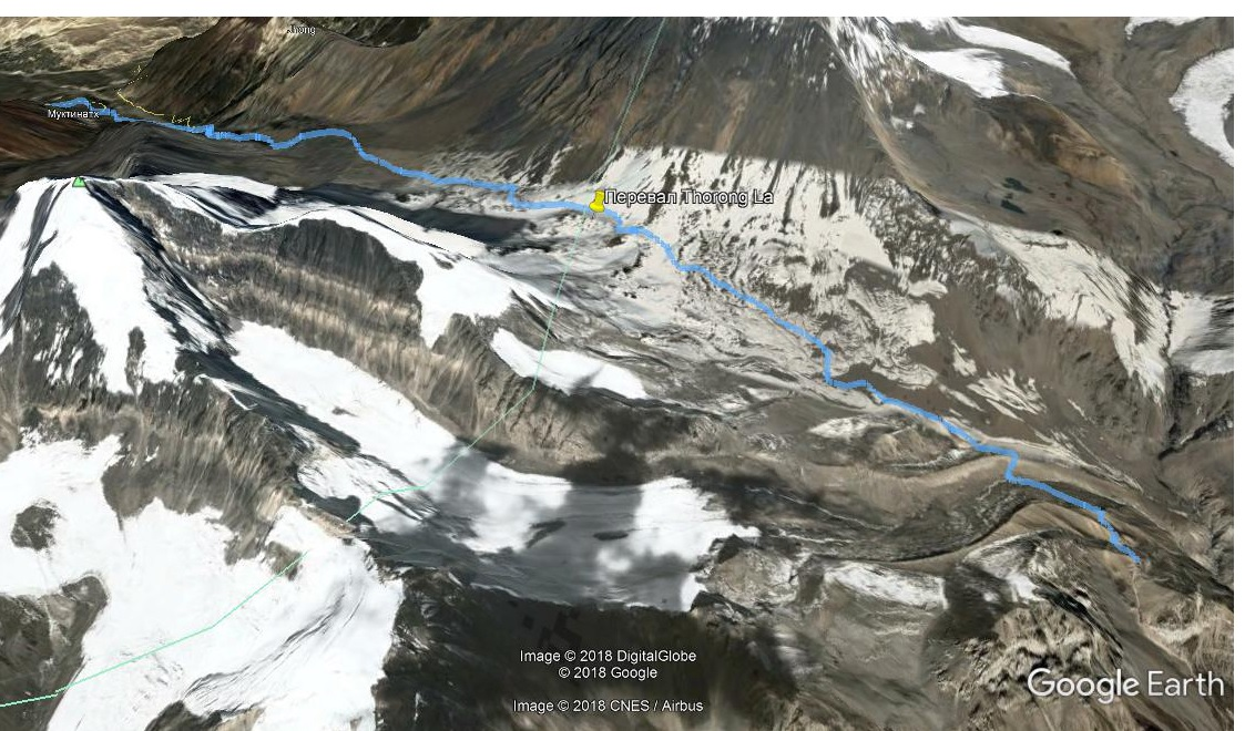 Трек High Camp - Muktinath на Google Earth