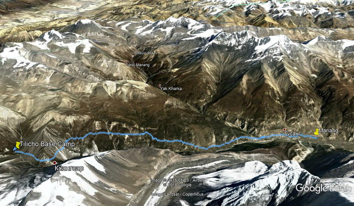 Трек Manang - Tilicho Base Camp на Google Earth
