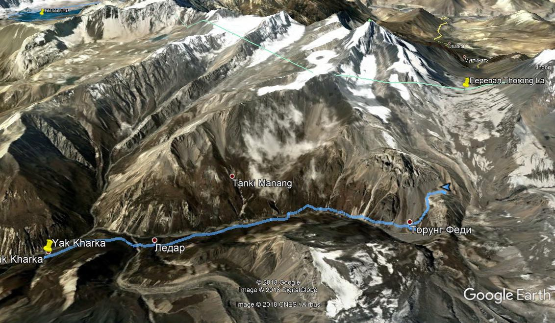 Трек Yak Kharka - High Camp на Google Earth